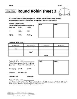 Acid-Base Properties Nomenclature Round Robin Activity