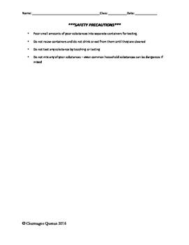Acid Base Scavenger Hunt Student Sheet