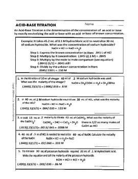 Acid-Base Titration Worksheet