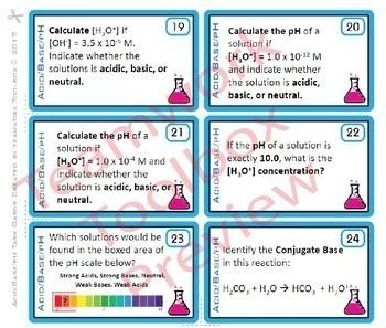 Acid, Base, pH ~ 28 Task Cards for Chemistry