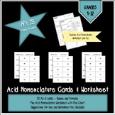 Acid Nomenclature Cards and Worksheet
