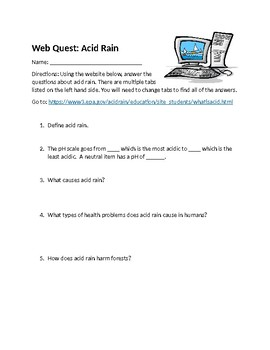 Acid Rain Web Quest