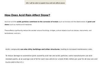 Acid Rain (lab activity, power point, writing conclusion/summary)