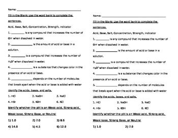 Acid and Base Quick Quiz