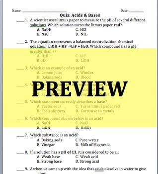 Acid and Base Quiz