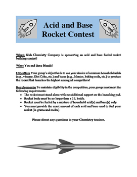 Acid and Base Rocket Contest - Project Based Learning (PBL)