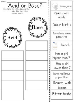 Acids and Bases Cut and Paste Sorting Activity