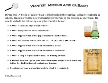 Acid/Base Wanted Poster- Summative Assessment