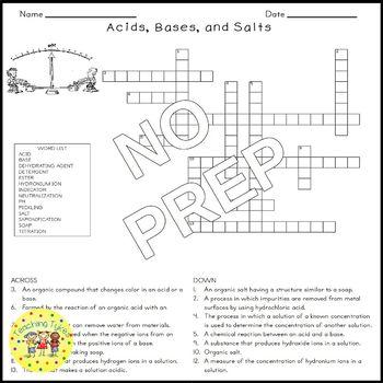 Acids Bases Salts Crossword Puzzle