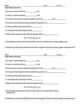Acids & Bases Start Up (Do Now) Activity- General Science