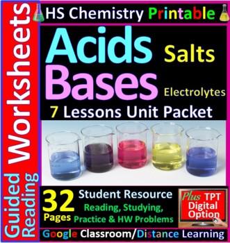 Acids, Bases and Salts 4-Product Bundle: HS Chemistry Notes, Worksheet..etc