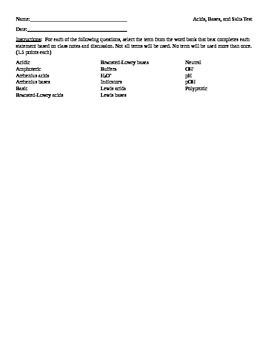 Acids, Bases, and Salts Chemistry Test Key