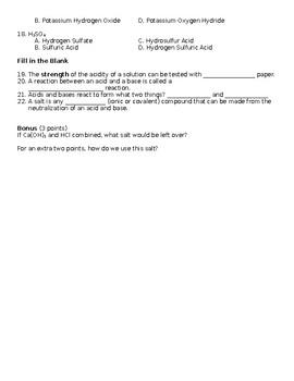 Acids, Bases, and Salts Quiz