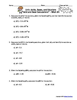 Acids, Bases, and Solutions Homework Worksheets - Set of 7! Answers ...