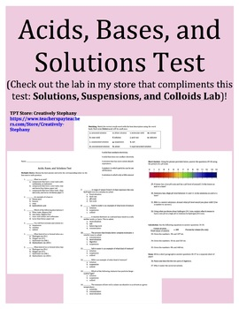 Acids, Bases, and Solutions Test