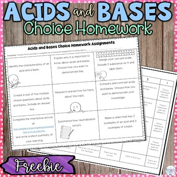 Acids Bases and the pH Scale Choice Homework Assignments FREEBIE