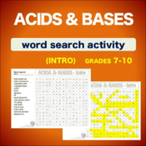 Acids and Bases - Introduction * WordSearch * Vocabulary*