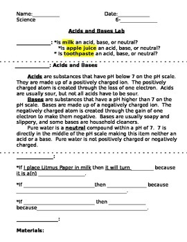 Acids and Bases Lab