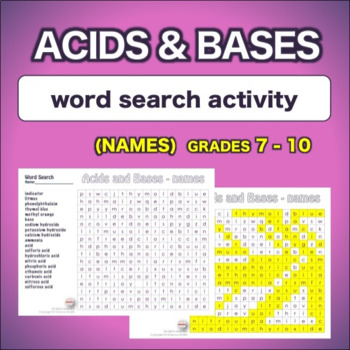 Acids and Bases - Names * WordSearch * Vocabulary* Warm Up * Bell Ringer *
