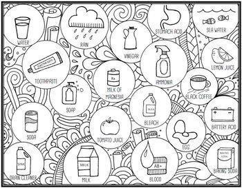 Acids and Bases Seek & Sort Doodle Page and Card Sort