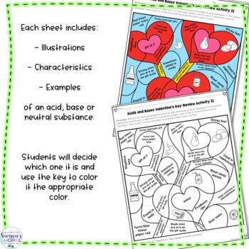 Acids and Bases Valentine's Day Color by Number Review Activity