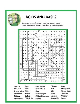 Acids and Bases Wordsearch or Word Search