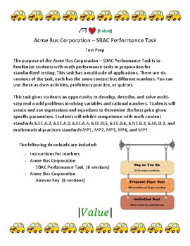 Acme Bus Corporation – 6th Grade SBAC Math Performance Task (PT)