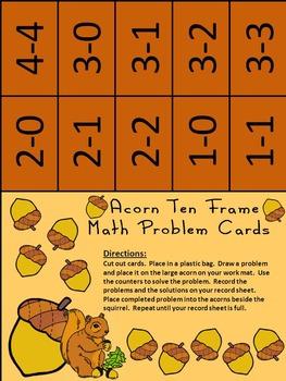 Acorn Activities: Acorn Fall Ten Frames Math Game Activities Bundle - Color&BW
