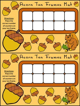 Fall Activities: Fall Ten Frames: Acorn Ten Frames
