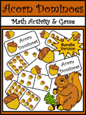 Acorn Activities: Acorn Fall Dominoes Math Activity Bundle - Color&BW