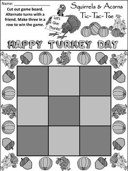 Acorn Activities:Squirrels & Acorns Fall-Thanksgiving Tic-Tac-Toe Game Activity