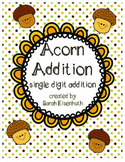 Acorn Addition Single Digit Adding File Folder Game