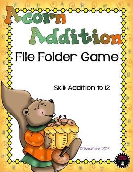 Acorn Addition to 12 Fall File Folder Game Math Center CCS