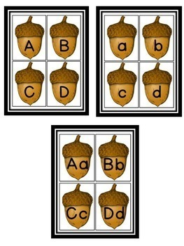 Fall Acorn Alphabet Letter Flashcards Uppercase and Lowercase