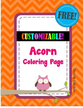 FREE! Fall Acorn Coloring Page, Great for Autumn