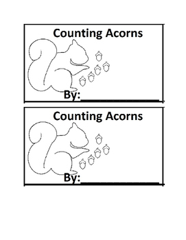 Acorn Counting Book Emergent Reader book for Preschool or Kindergarten