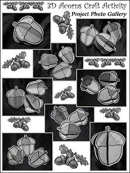Acorn Crafts: 3D Acorns Fall-Thanksgiving Craft Activity Packet - B&W Version