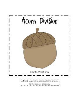 Acorn Division File Folder Game (Divide by 9's)