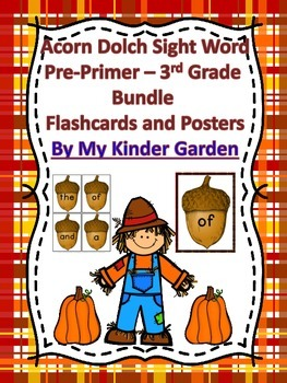 Fall Acorn Dolch PrePrimer-3rd Grd High Frequency Sight Word Flashcards  Posters