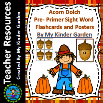 Fall Acorn Dolch Pre-Primer High Frequency Words Sight Word Flashcards & Posters
