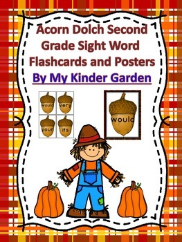 Fall Acorn Dolch 2nd Grade High Frequency Words Sight Word Flashcards & Posters