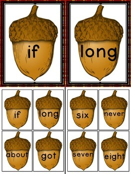 Fall Acorn Dolch 3rd Grade High Frequency Words Sight Word Flashcards & Posters