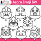 Acorn Emoji Clip Art {Autumn Emoticons and Smiley Faces for Worksheets} B&W