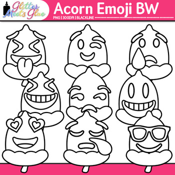 Acorn Emoji Clip Art   Autumn Emoticons and Smiley Faces for Worksheets   B&W