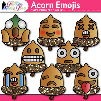 Acorn Emoji Clip Art | Autumn Emoticons and Smiley Faces for Fall Brag Tags