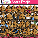 Acorn Emoji Clip Art {Autumn Emoticons and Smiley Faces fo