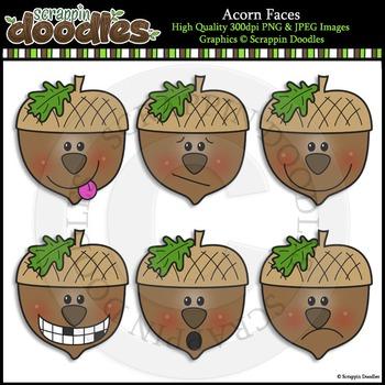 Acorn Faces Clip Art & Line Art