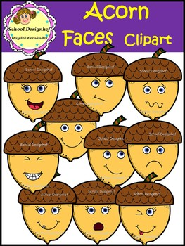 Acorn Faces Clip Art (School Designhcf)