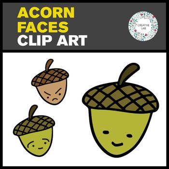 Acorn Faces Clip Art Set - 6 images