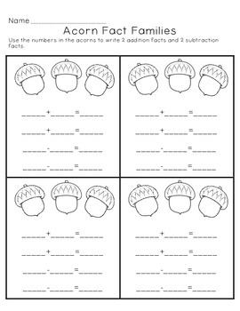 Acorn Fact Families Worksheet/Center